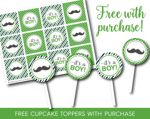 Green and navy blue printable it´s a boy banner with matching cupcake toppers, PB-544
