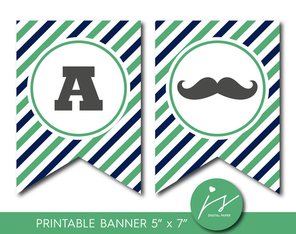 Navy blue and green printable it´s a boy banner with full alphabet and matching toppers, PB-548