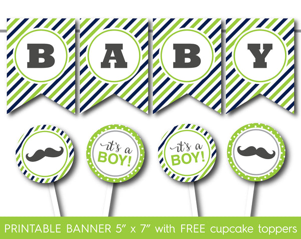 Lime green and navy blue it´s a boy full alphabet banner, PB-550
