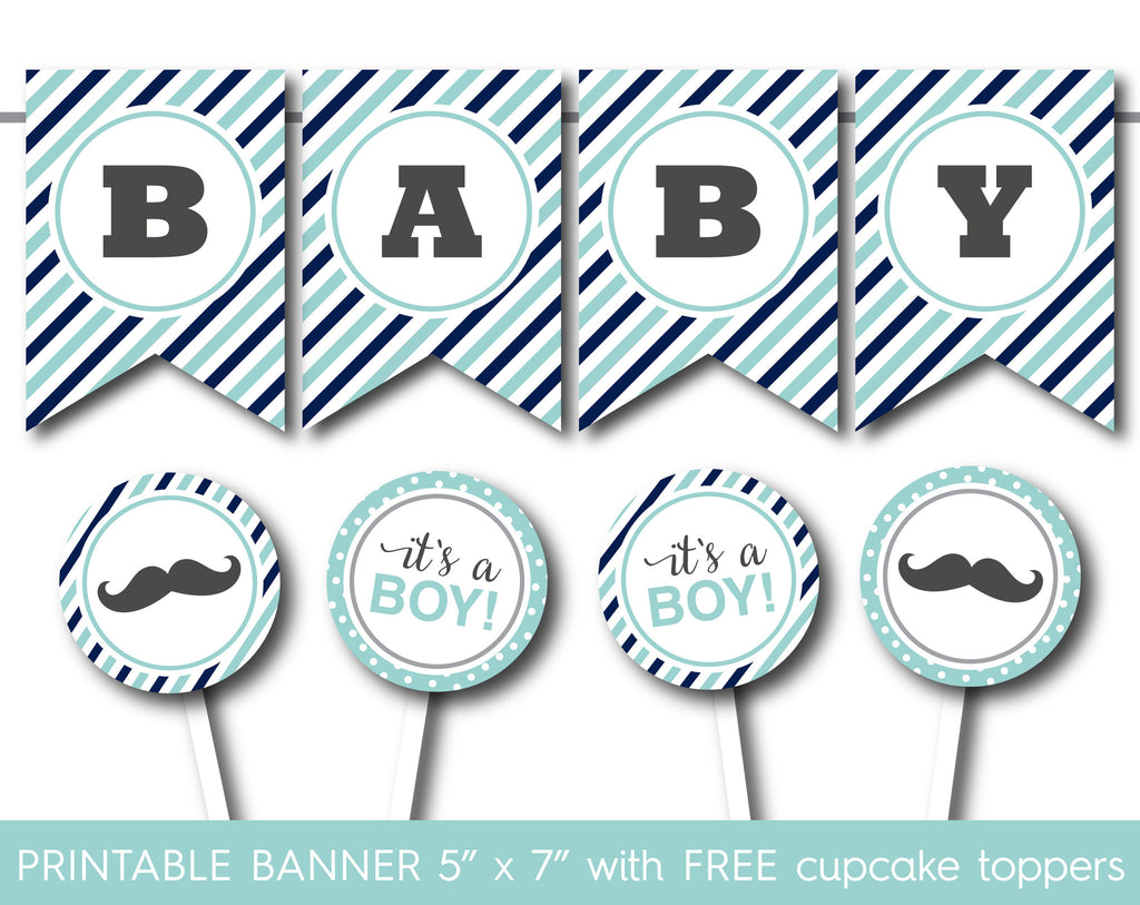 Mint blue and navy printable banner with full alphabet banner and cupcake toppers, PB-551