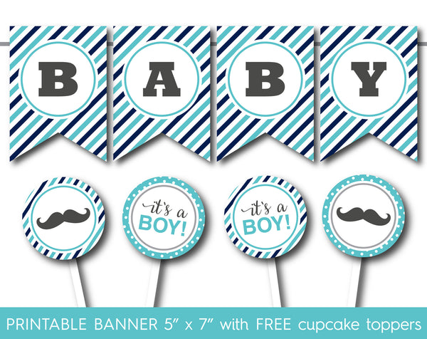 Turquoise and navy blue printable it´s a boy banner with cupcake toppers, PB-552