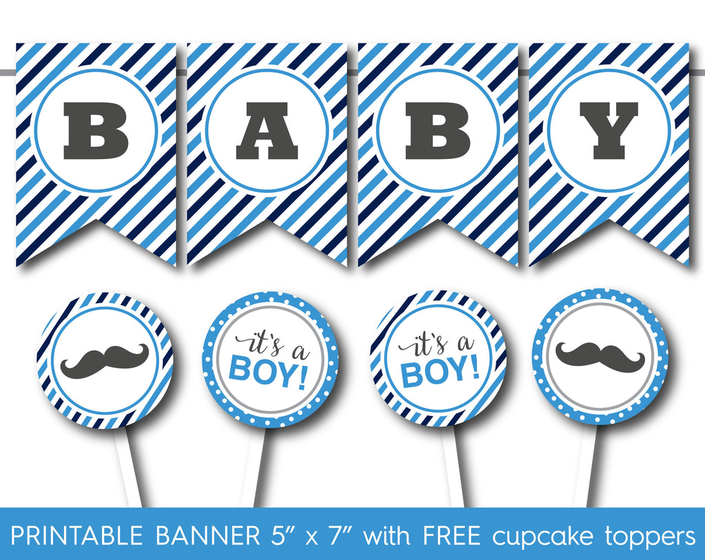 Blue printable it´s a boy banner and matching cupcake toppers with ...