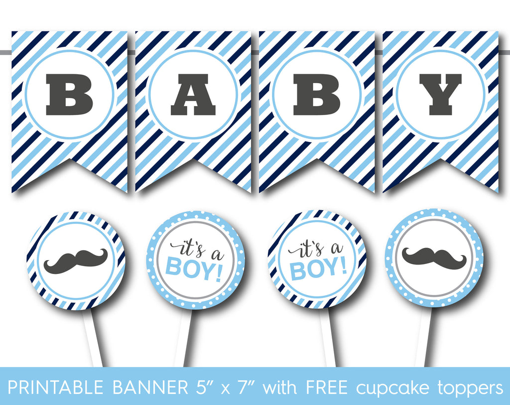 Light blue and navy blue printable it´s a boy banner, PB-556