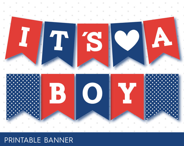 Blue and red baby shower banner, PB-56