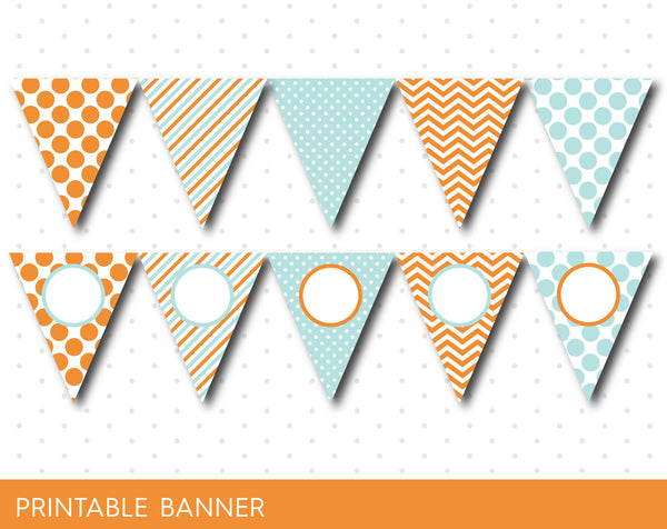 Orange and mint blue DIY printable banner with chevron, stripes and polka dots, Blank pennant banners, PB-571