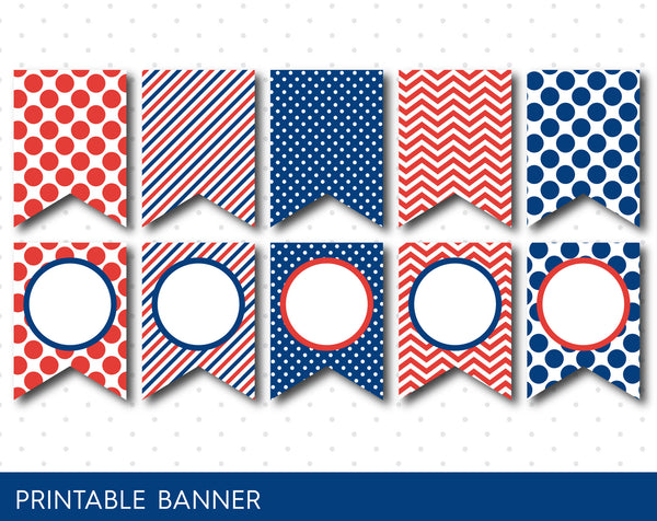 Red and blue DIY printable banner with chevron, stripes and polka dots, Blank pennant banners, PB-574