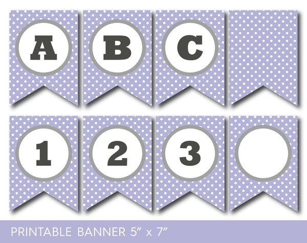 Purple and grey banner, with stripes and big polka dots, PB-579