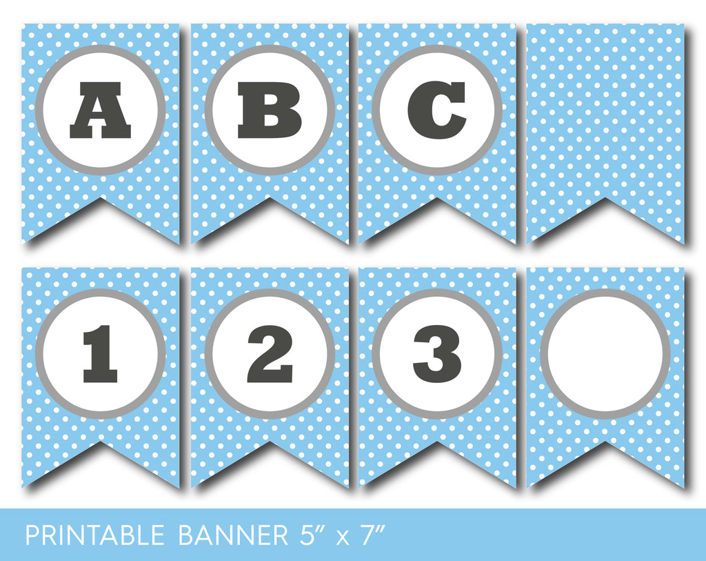 Blue birthday banner, Printable blue party banner, Banner letters ...