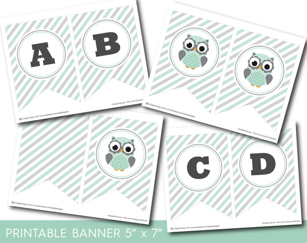 Owl birthday party banner, Woodland owl banner in mint green and grey, PB-588