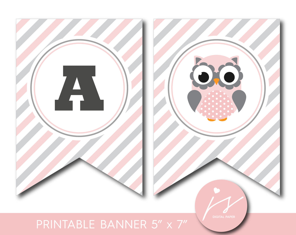 Pink printable owl party banner, Woodland bunting banner with stripes, BO1-19