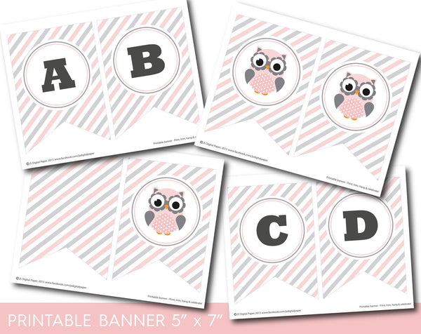 Pink owl party banner, Woodland owl bunting banner with stripes, BO1-19