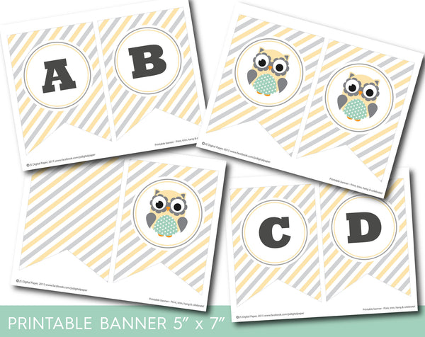 Yellow printable owl party banner, Woodland owl bunting banner with stripes, PB-591