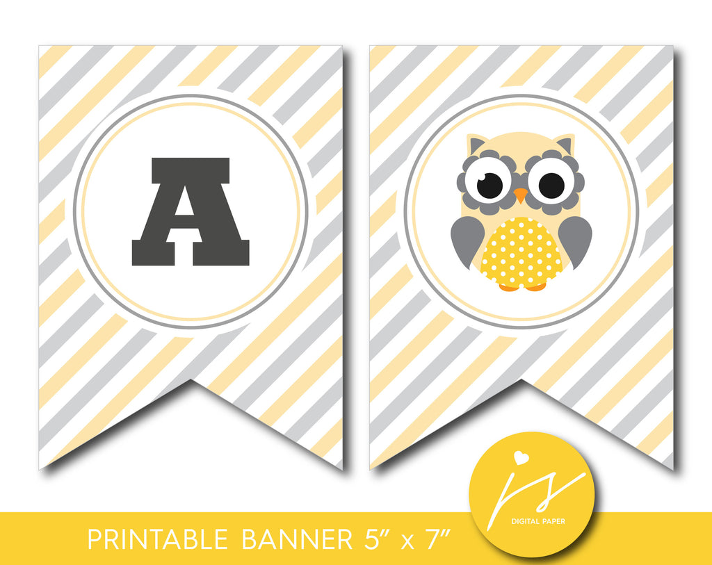 Yellow owl printable party banner, Woodland owl bunting banner with stripes, PB-593