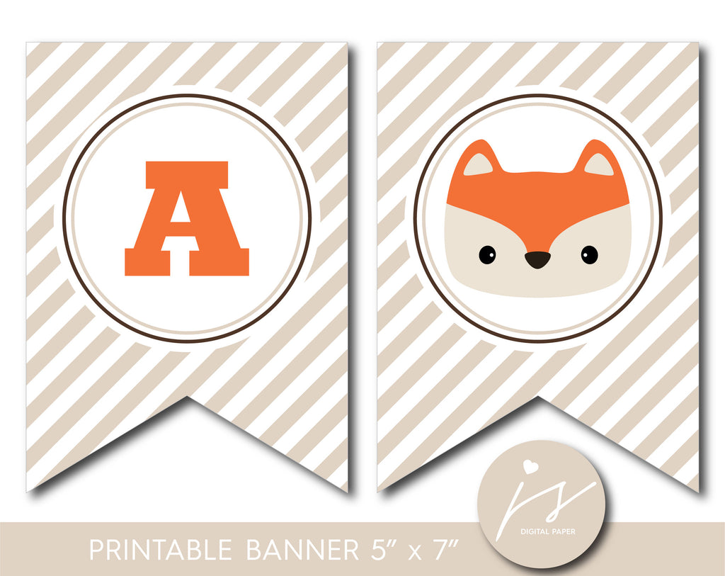 Fox banner, Woodland baby shower banner, Woodland birthday banner, Woodland bunting, Woodland garland, PB-595