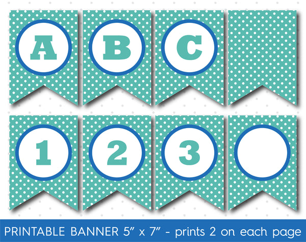 Blue and turquoise DIY banner, Printable birthday and party banner decorations, PB-599