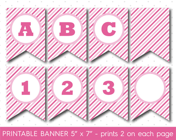 Pink DIY banner, Printable birthday and party banner decorations, PB-610