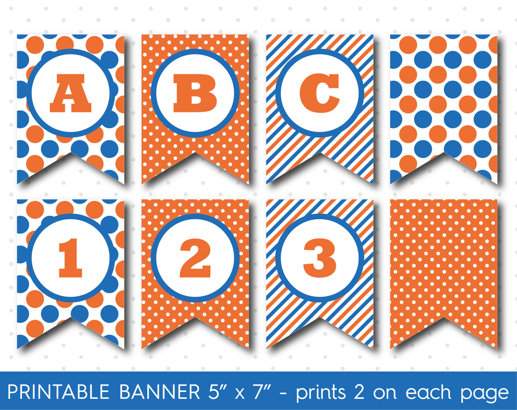 Blue and orange DIY banner, Printable birthday and party banner decorations, PB-613