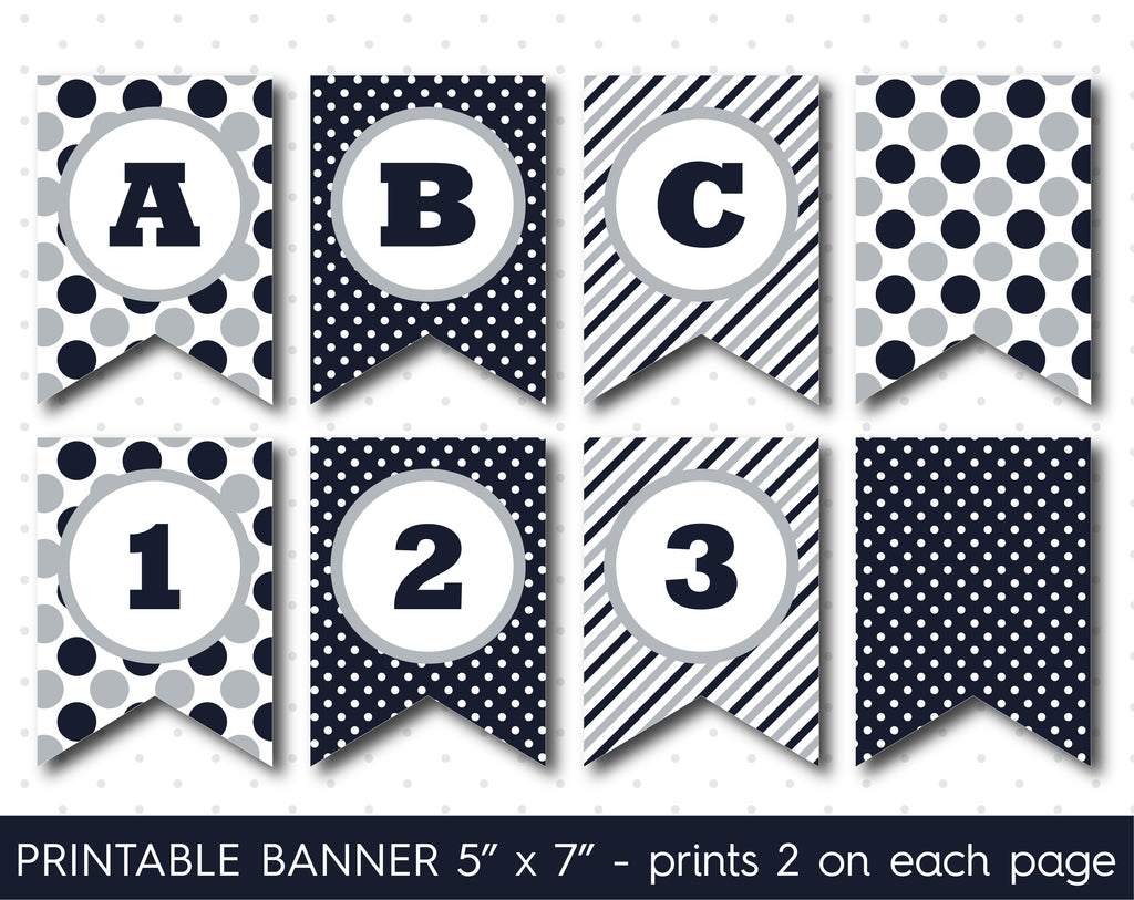 Gray and navy blue DIY banner, Printable birthday and party banner decorations, PB-617