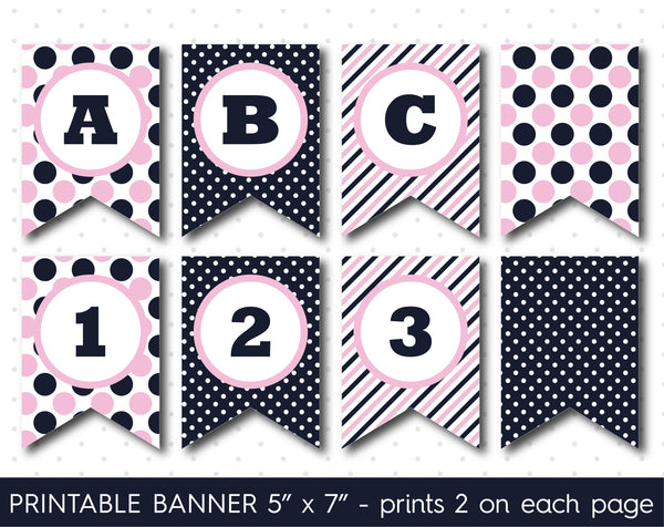 Baby pink and navy blue DIY banner, Printable birthday and party banner decorations, PB-619