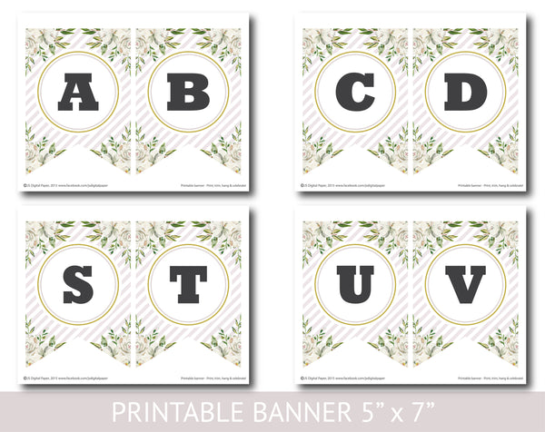 White and green floral watercolour banner with stripes, Birthday, Wedding and Baby shower banner, PB-620