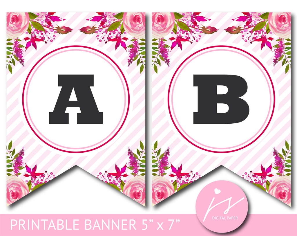Pink and green floral watercolour banner with stripes, Birthday, Wedding and Baby shower banner, PB-621