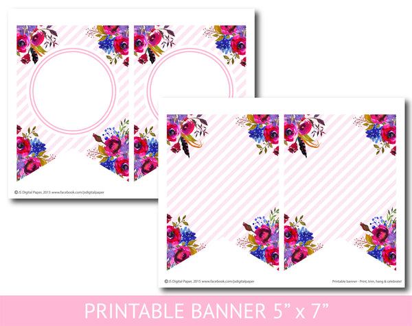 Purple and hot pink floral watercolour banner with stripes, Birthday, Wedding and Baby shower banner, PB-622