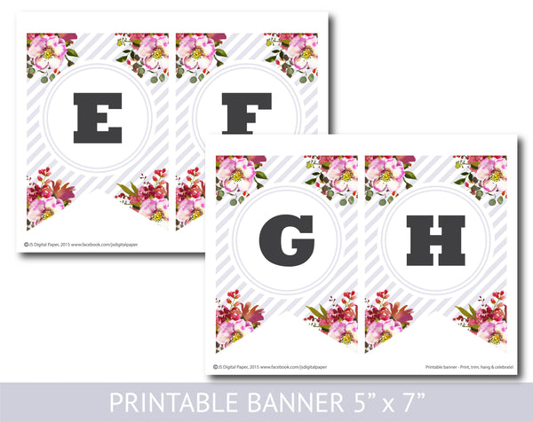 Floral watercolour banner with light lilac stripes, Birthday, Wedding and Baby shower banner, PB-624