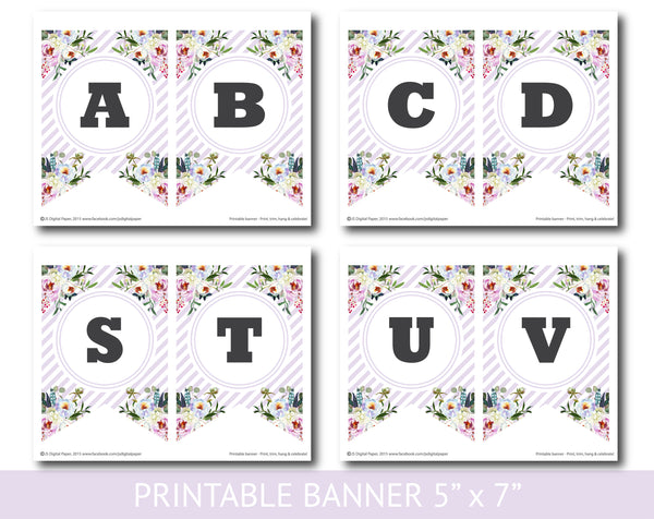 Purple striped floral printable banner, Birthday, Wedding and Baby shower banner, PB-627