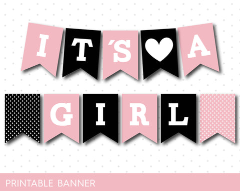 Black and pink it´s a girl baby shower banner , Oh baby banner, Printable Banner with letters and number, PB-63