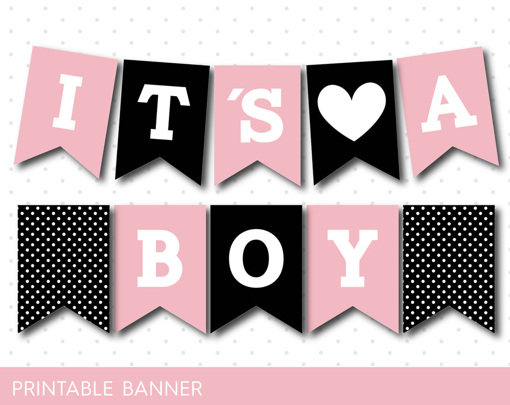 black and pink it s a girl baby shower banner oh baby banner