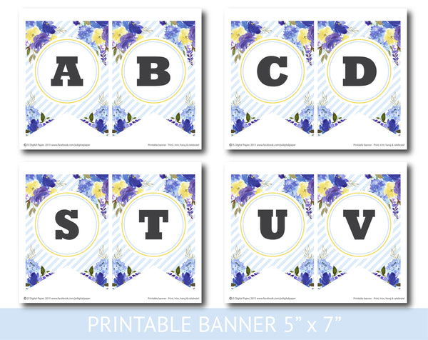 Blue and purple watercolour banner with stripes, Birthday, Wedding and Baby shower banner, PB-632