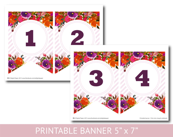 Orange and purple watercolour banner with stripes, Birthday, Wedding and Baby shower banner, PB-633
