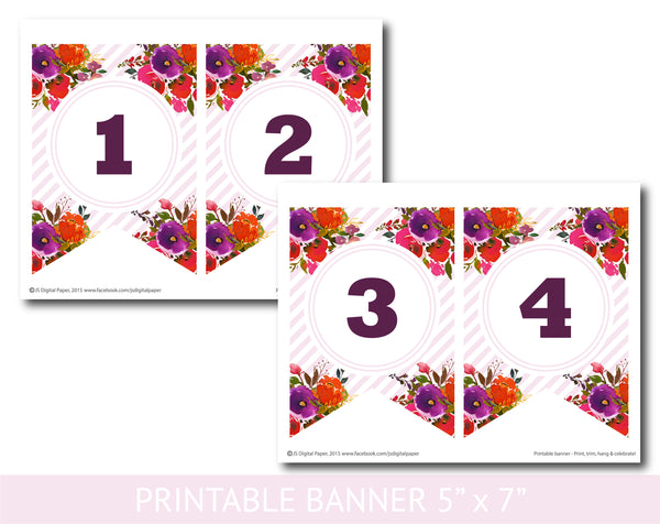 Purple and orange watercolour banner with stripes, Baby shower, Bridal and Birthday banner, PB-634