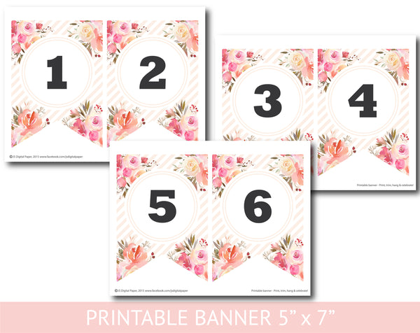 Blush floral watercolour banner with stripes, Baby shower, Bridal and Birthday banner, PB-635