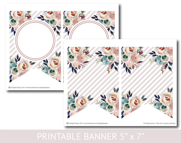 Printable watercolor banner with flowers and stripes, PB-637