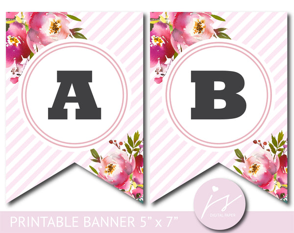 Pink striped printable banner with watercolor flowers for birthday, bridal and baby shower, PB-639