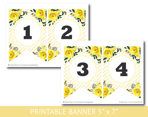 Yellow floral watercolour banner with stripes, Birthday, Wedding and Baby shower banner, PB-640