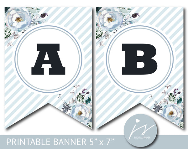Ice blue floral watercolour banner with blue stripes, Birthday, Wedding and Baby shower banner, PB-641
