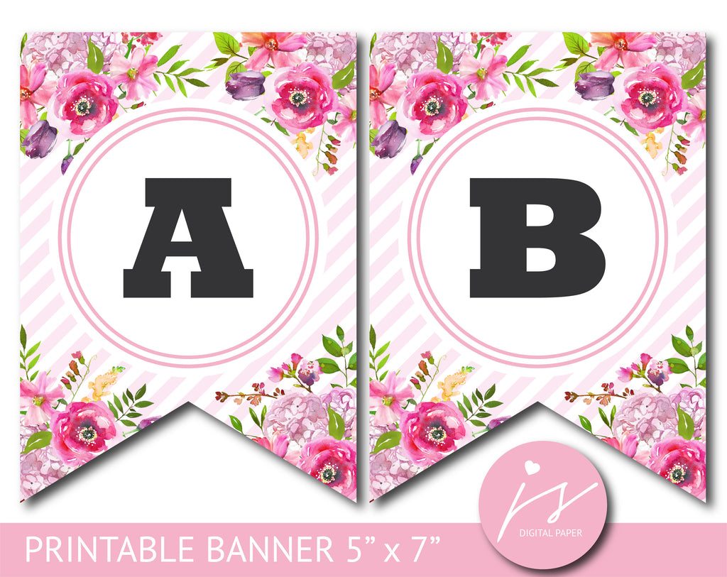 Pink printable party banner with flowers and stripes, PB-642