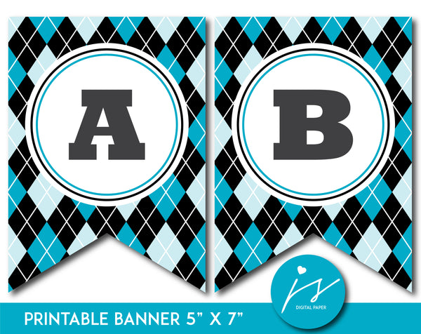Turquoise and blue printable banner with argyle pattern design, PB-644