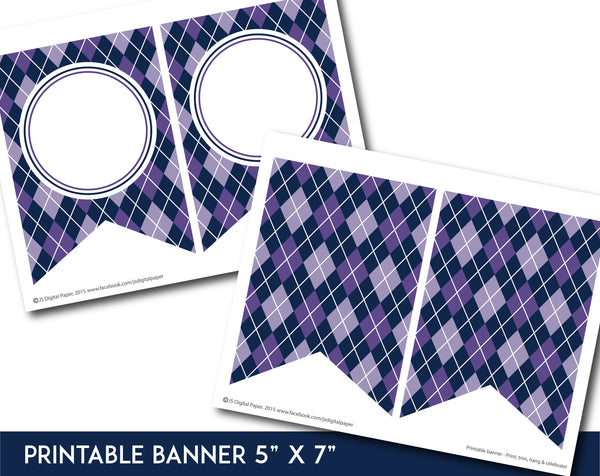 Purple printable banner with argyle pattern design, PB-646