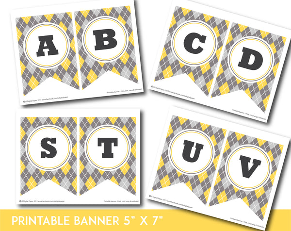 Yellow and gray printable banner with argyle pattern design, PB-651