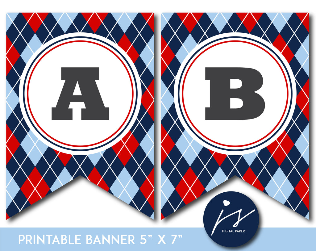 Red and blue printable banner with argyle pattern design, PB-652