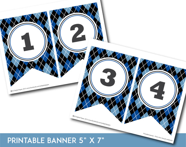 Blue and black printable banner with argyle pattern design, PB-653