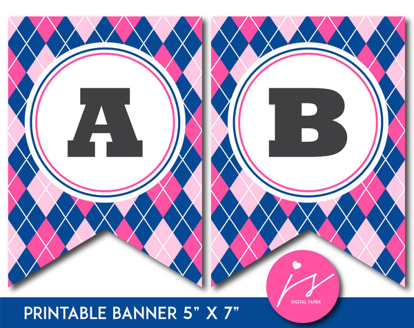 Pink and royal blue printable banner with argyle pattern design, PB-655