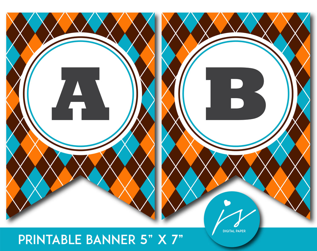 Teal and orange printable banner with argyle pattern design, PB-656
