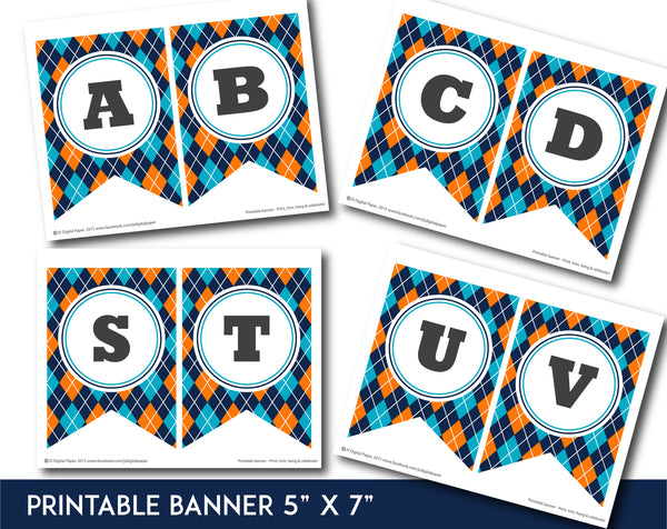 Blue and orange printable banner with argyle pattern design, PB-657
