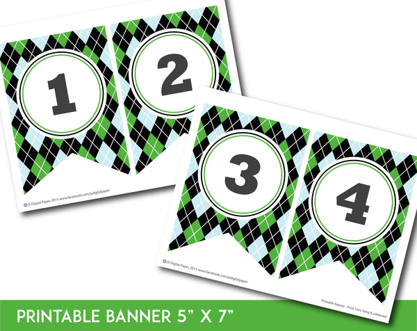 Green, blue and black printable banner with argyle pattern design, PB-658