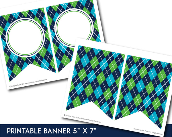 Teal, green and navy blue printable banner with argyle pattern design, PB-661