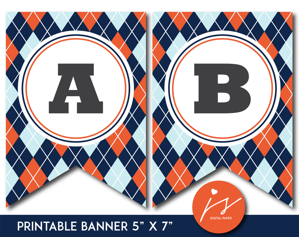 Navy blue and orange printable banner with argyle pattern design, PB-663